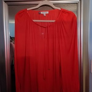 Jennifer Lopez NWOT  Long sleeved Red silky blouse